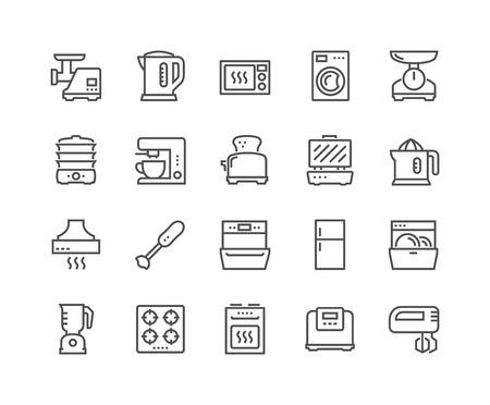 Illustration pour Line Kitchen Appliances Icons - image libre de droit
