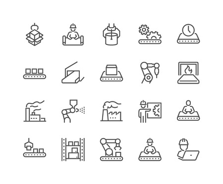 Illustration for Line Mass Production Icons - Royalty Free Image