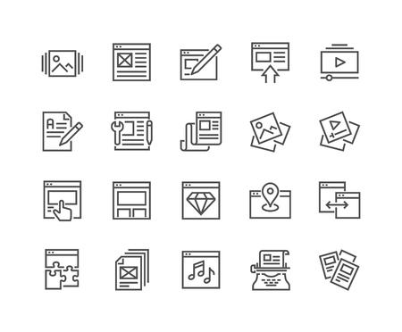 Photo pour Line Web Content Icons - image libre de droit