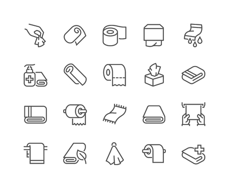 Illustration pour Line Towels and Napkins Icons - image libre de droit