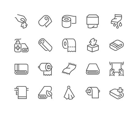 Ilustración de Line Towels and Napkins Icons - Imagen libre de derechos