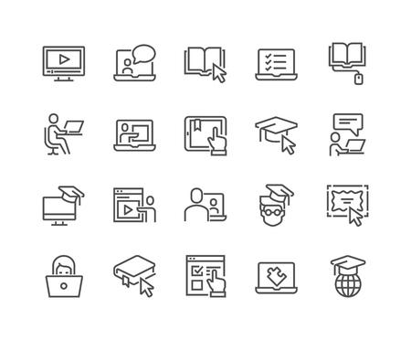 Photo pour Line Online Education Icons - image libre de droit