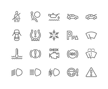 Illustration pour Line Car Dashboard Icons - image libre de droit
