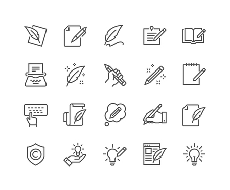 Illustration pour Line Copywriting Icons - image libre de droit