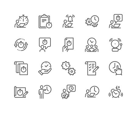Illustration pour Line Time Management Icons - image libre de droit