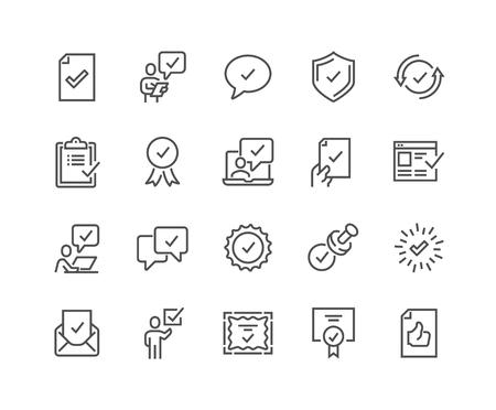 Illustration pour Line Approve Icons - image libre de droit
