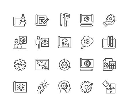 Illustration pour Line Engineering Design Icons - image libre de droit