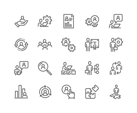 Ilustración de Line Business Management Icons - Imagen libre de derechos