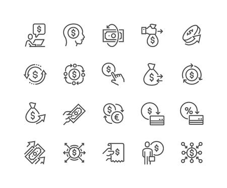 Illustration pour Line Money Movement Icons - image libre de droit