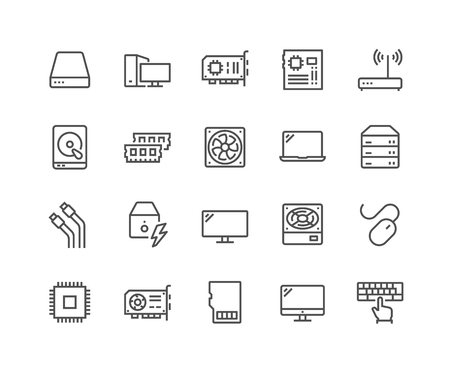 Illustration pour Simple Set of Computer Components Related Vector Line Icons. Contains such Icons as CPU, RAM, Power Adapter, Cables and more. Editable Stroke. 48x48 Pixel Perfect. - image libre de droit