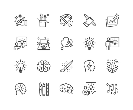 Illustrazione per Simple Set of Creativity Related Vector Line Icons. Contains such Icons as Inspiration, Idea, Brain and more. Editable Stroke. 48x48 Pixel Perfect. - Immagini Royalty Free