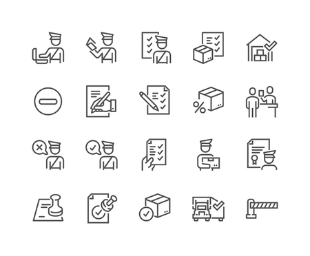 Illustration pour Simple Set of Customs Related Vector Line Icons. Contains such Icons as Declaration, Passport Control, Approve Stamp and more. Editable Stroke. 48x48 Pixel Perfect. - image libre de droit