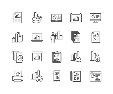 Illustration pour Simple Set of Graph Related Vector Line Icons. Contains such Icons as Report, Abstract Chart Presentation, Increase - Decrease Graph and more. Editable Stroke. 48x48 Pixel Perfect. - image libre de droit