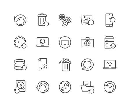 Illustration pour Simple Set of Recovery Related Vector Line Icons. Contains such Icons as Restore Data, Backup, Medikit and more. Editable Stroke. 48x48 Pixel Perfect. - image libre de droit