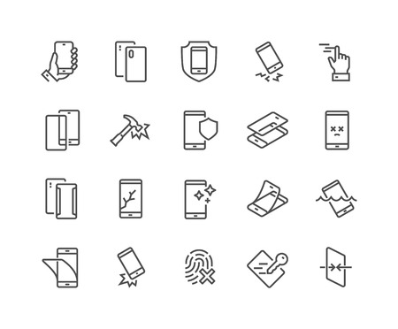 Illustration pour Simple Set of Smartphone Protection Related Vector Line Icons. Contains such Icons as Screen Protector, Delicate Touch, Tempered Glass and more. Editable Stroke. 48x48 Pixel Perfect. - image libre de droit