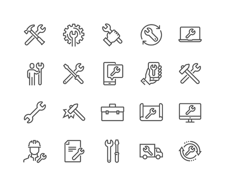 Illustration pour Simple Set of Repair Related Vector Line Icons. Contains such Icons as Screwdriver, Engineer, Tech Support and more. Editable Stroke. 48x48 Pixel Perfect. - image libre de droit