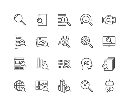 Illustration for Line Search Icons - Royalty Free Image