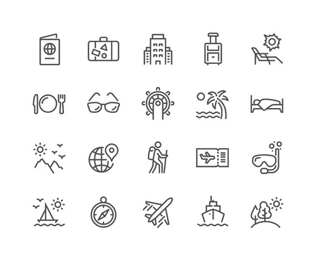 Illustration pour Line Travel Icons - image libre de droit