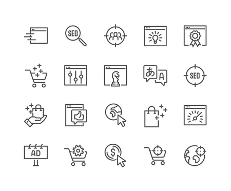 Illustration pour Simple Set of SEO Related Vector Line Icons. Contains such Icons as Target Audience, Increase Sales, Web-site Performance and more. Editable Stroke. 48x48 Pixel Perfect. - image libre de droit