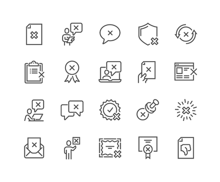 Illustration pour Simple Set of Reject Related Vector Line Icons. Contains such Icons as Refuse Stamp, Cancellation, Decline and more. Editable Stroke. 48x48 Pixel Perfect. - image libre de droit