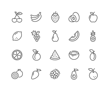 Illustration for Line Fruits Icons - Royalty Free Image