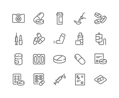 Illustration pour Line Medical Drugs Icons - image libre de droit