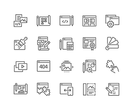 Illustration pour Simple Set of Web Development Related Vector Line Icons. Contains such Icons as Content, Image Gallery, Layout Settings and more. Editable Stroke. 48x48 Pixel Perfect. - image libre de droit