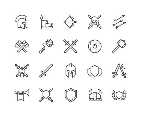 Ilustración de Simple Set of Archaic War Related Vector Line Icons. Contains such Icons as Helmet, Sword, Shield and more. Editable Stroke. 48x48 Pixel Perfect. - Imagen libre de derechos