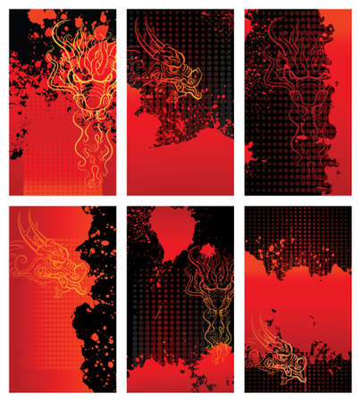Bloody dragon backgrounds cards design elements. Each card in separated layer
