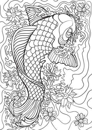 Illustration for Adult Coloring book  illustration. Tattoo set: Koi. illustration. - Royalty Free Image