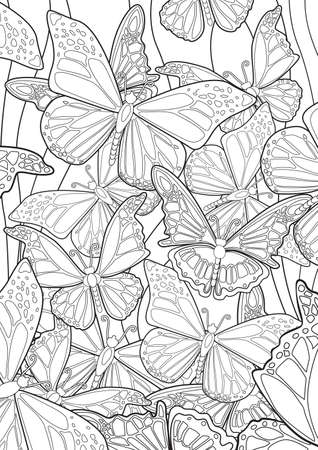 Illustration for Adult Coloring book  illustration. Tattoo set: Butterflies. illustration. - Royalty Free Image