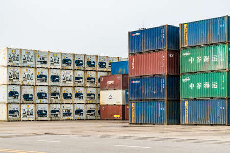 Photo for Tianjin China - on Jul 04, 2016:Scene of Tianjin port container freight terminal - Royalty Free Image
