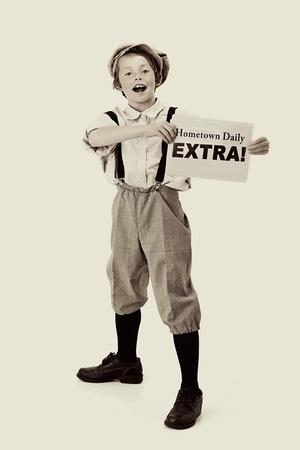 Foto de Extra, Extra  vintage newsboy - Imagen libre de derechos