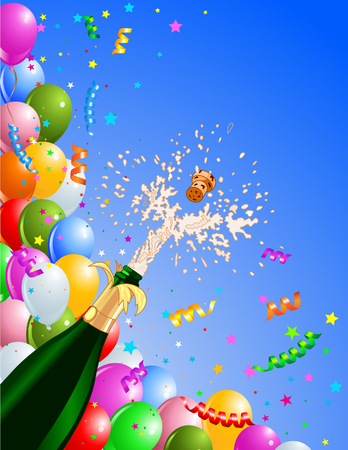 Celebration  background with  Champagne and balloons. Best for New Year�s Eve