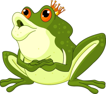 Illustration for  Clip Art of a Frog Prince waiting to be kissed - Royalty Free Image