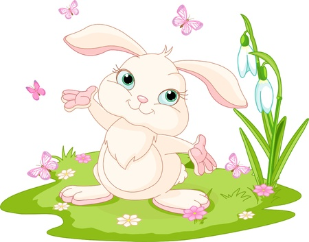 Spring scene with bunny and butterflies