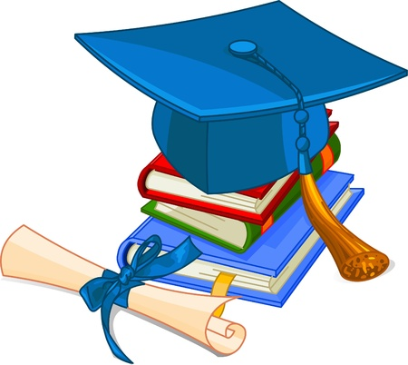 Illustration of graduation cap and diploma  on pile book