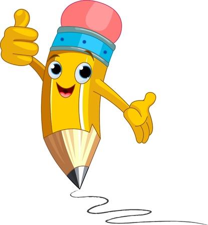 Illustration pour Illustration of a Pencil Character  giving thumbs up - image libre de droit
