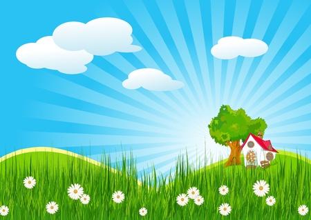Illustration pour Idyllic summer landscape with little house - image libre de droit