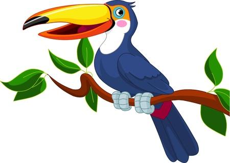 Photo pour Illustration of toucan sitting on tree branch  - image libre de droit