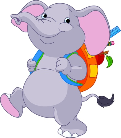 Cute elephant on his way to school