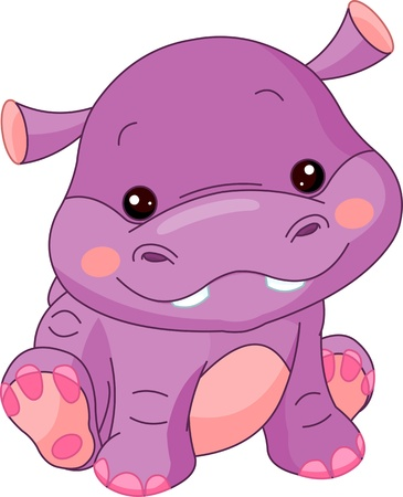 Photo for Fun zoo. Illustration of cute Hippo - Royalty Free Image