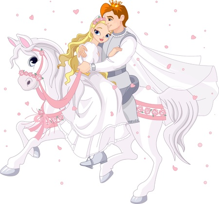 Photo pour Royalty bride and groom on white horse - image libre de droit