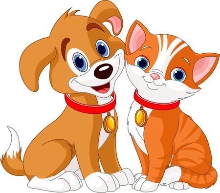 Illustration of best friends ever - Cat and Dog