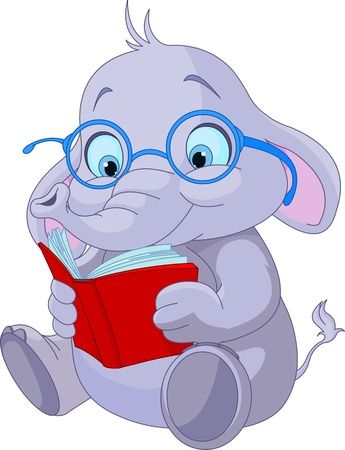 Cute elephant with glasses reading  a book
