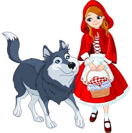Illustration pour Little Red Riding Hood meeting a wolf  - image libre de droit