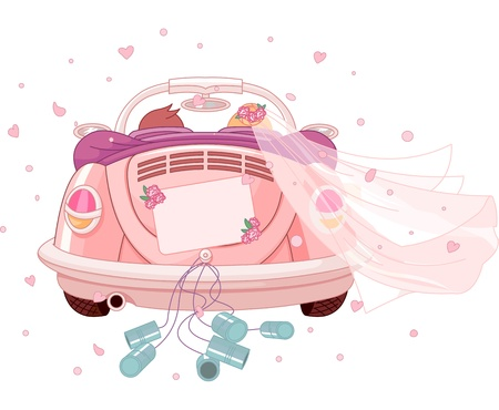 Foto per  Just married on car - Immagine Royalty Free