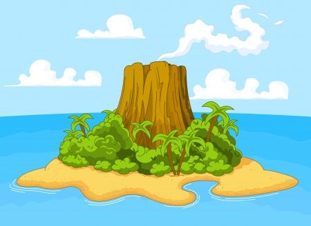 Illustration for Illustration of volcano on desert island - Royalty Free Image