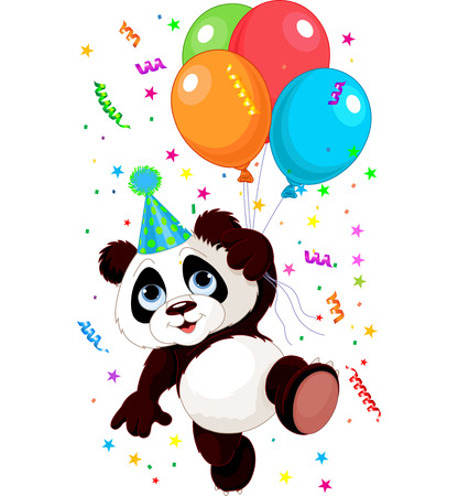 Illustration pour Funny panda flying with balloons - image libre de droit