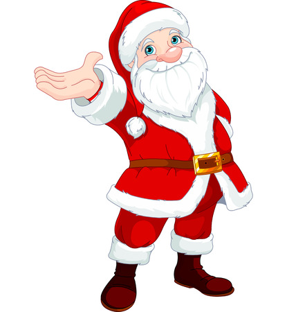 Illustration pour Cute  Santa Clause with his arm raised to present something, sing or announce   - image libre de droit